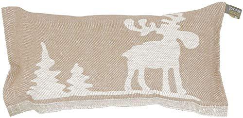 Jokipiin | 1 Saunakissen Lieblingskissen Reisekissen | Design: Elch, beige/weiß | Maße: 40 x 22 cm, Leinen/Baumwolle | schadstofffrei Ökotex 100 | hergestellt in Finnland
