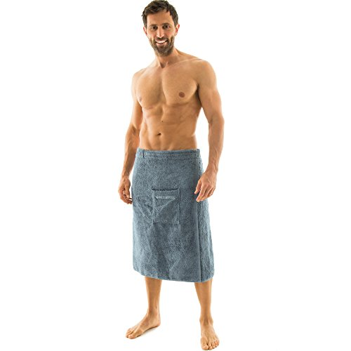 aqua-textil Wellness Saunakilt Herren 70 x 160 cm grau Baumwolle Saunasarong Frottee Kilt kurzer Schnitt