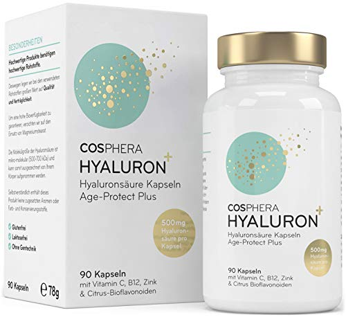 Hyaluronsäure Kapseln hochdosiert mit 500 mg pro Kapsel - 90 vegane Hyaluron Kapseln im 3 Monatsvorrat - 500-700 kDa I Angereichert mit Zink, Vitamin C, B12 & Bioflavonoiden...