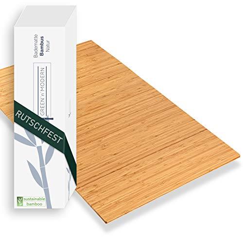 Green'n'Modern Badematte aus Bambus rutschfest   Bambusmatte als Badteppich Badezimmer   Holz Bambus Duschvorleger hygienisch   Holzteppich Fußbodenauflage   Bambusteppich...