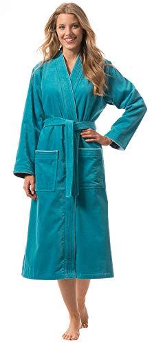 Morgenstern Bademantel für Damen aus Bio Baumwolle ohne Kapuze in Petrol Sauna Bademantel wadenlang Haus Mantel Baumwolle Größe XL Lotte