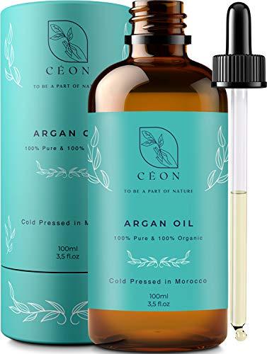 CÉON® - PREMIUM Arganöl BIO & VEGAN - 100% rein und kaltgepresst - 100ml bio arganöl Haaröl - optimal für Haarpflege, Haare, Gesicht, Haut & Nägel - Argan Öl -...