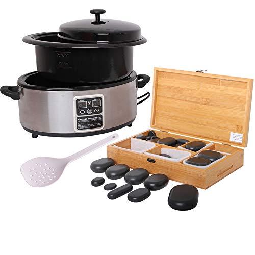 Hot Stone Massage Set Basic mit Hot Stone Wärmegerät ca. 5,5 Liter 45 Steine groß und klein - Heiße Steine Set für die Wärmebehandlung aus Basalt