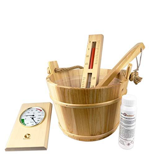SudoreWell® 6-teiliges Saunaeimer Set mit Saunaeimer 4 Liter aus Holz plus Kelle, Einsatz, Saunaaufguss, Sanduhr + Klimamesser