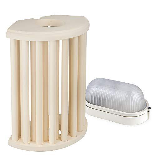 Sauna Beleuchtung Set Lampenschirm Sawo 915-VA aus Espe mit E27 IP54 Saunalampe und 5m Silikonkabel SiHF