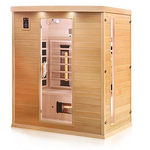 Dewello Infrarotkabine PIERSON 160x105 DUAL-THERM für 2-3 Personen aus Hemlock Holz mit Vollspektrumstrahler