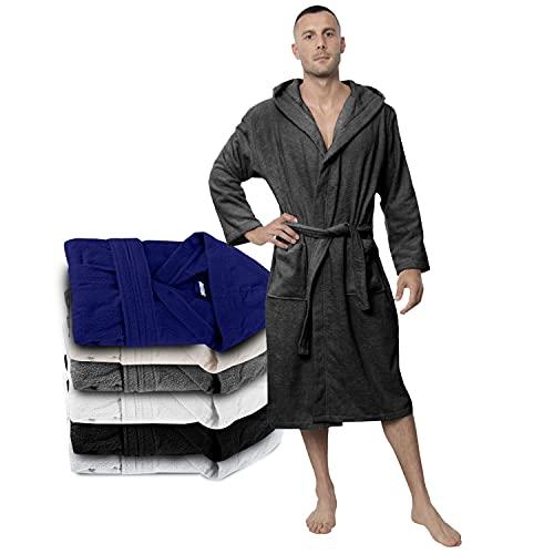 Twinzen Bademantel Herren - XL - DarkGrau - 100% Baumwolle (350g/m²) OEKO-TEX® Zertifiziert - Bademantel mit Kapuze, 2 Taschen, Gürtel