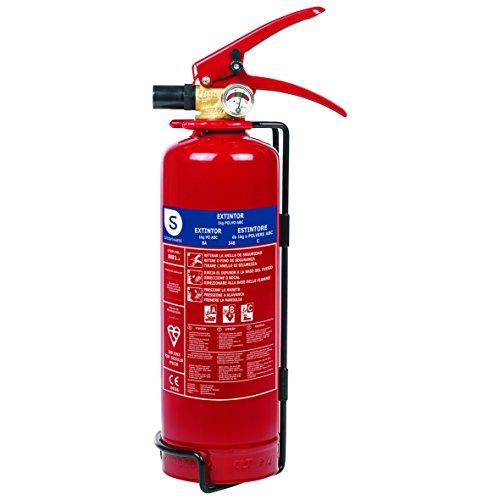 Smartwares Trockenpulver Feuerlöscher 1kg ABC inkl. Halterung BSI Zertifiziert