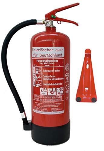 Feuerlöscher 6kg ABC Pulverlöscher mit Manometer EN 3 , Prüfnachweis mit Jahresmarke , Messingarmatur Sicherheitsventil , ( Mit Kunststoffstandfuß mit Wandhalter ohne...
