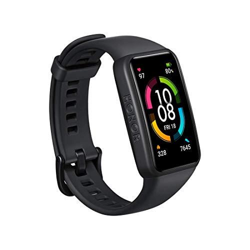 HONOR Band 6 Fitness Armband mit Pulsuhr, 1.47''AMOLED Touchscreen 14 Tage Akkulaufzeit SpO2 Überwachung,5ATM Fitness Tracker Schrittzähler Uhr Herren Damenr Smartwatch...