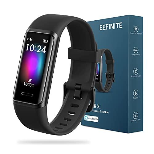 EEFINITE Fitness Tracker mit Alexa Built-in, 5ATM wasserdicht Aktivität Tacker mit Blutsauerstoff Herzfrequenz-Monitor, Schlaf Schwimmen Tracking, Smart Schritt...