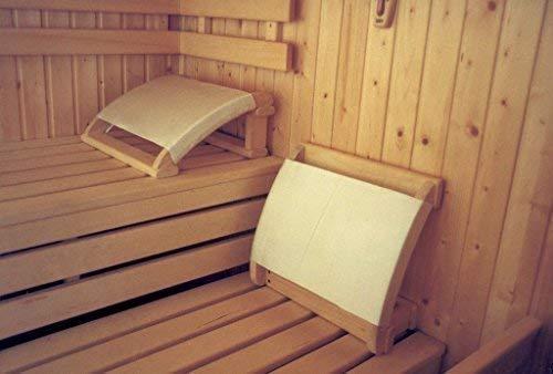 SudoreWell® Sauna - Kopfstütze mit geschweiften Seitenteilen und Stoffbezug + gratis 25g Mentholkristalle