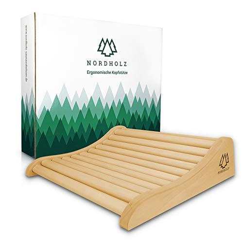 Sauna Kopfstütze Holz - 37x33cm ideale Breite für den optimalen Liegekomfort - Sauna Kopfstütze Ergonomisch handgefertigt aus langlebigem skandinavischem Fichtenholz -...