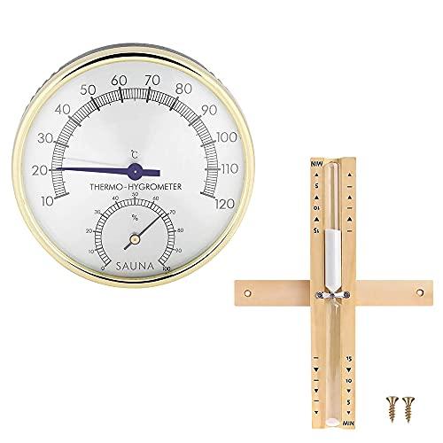 Komake Sauna Thermometer Hygrometer, Mit Sanduhr 15 Minuten...