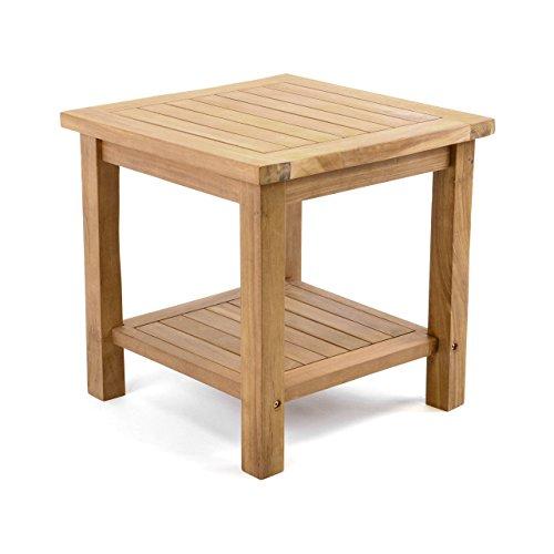 Divero Beistelltisch Blumen Hocker Balkontisch Teak Holz Tisch für Bad Terrasse Balkon Garten – wetterfest stabil unbehandelt – 50 x 50 cm Natur braun behandelt...