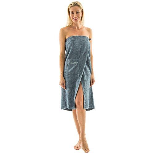 aqua-textil Wellness Saunakilt Damen 90 x 150 cm grau Baumwolle Saunasarong Frottee Kilt Langer Schnitt