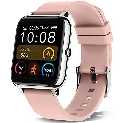 KALINCO Smartwatch, 1.4 Zoll Touch-Farbdisplay Fitness Tracker mit Blutdruckmessung, Smart Watch Pulsuhr Schlafmonitor Sportuhr IP67 Wasserdicht Schrittzähler für Damen...