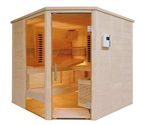 SAUNELLA Sauna + Infrarotkabine | Infrarotsauna Bausatz Heimsauna Maße: 206 x 206 x 204 cm | Saunaofen Komplett Sauna Zubehör Ecksauna Eckeinstieg Massivholz | ext....
