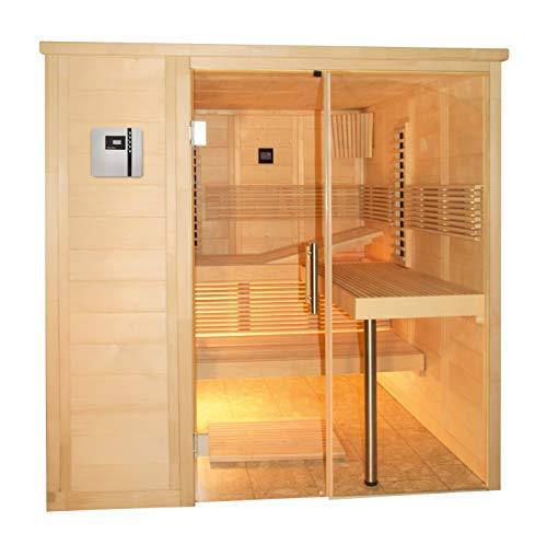 SAUNELLA Sauna + Infrarotkabine + Verdampfer | Infrarotsauna Bausatz Heimsauna Maße: 208 x 206 x 204 cm | Saunakabine Saunaofen Komplett Sauna Zubehör Ecksauna Massivholz |...