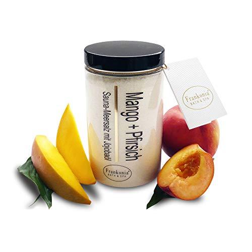 Sauna Salz Peeling – Mango Pfirsich 400g - Meersalz m. Jojobaöl Vitamin E Body Scrub – Dusch- und Körperpeeling für alle Hauttypen – vegan – ohne Parabene