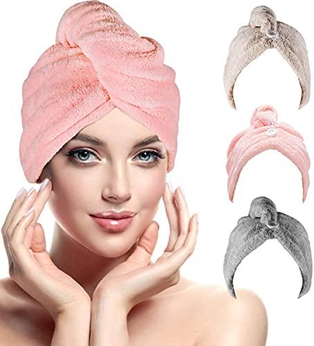 Haarturban, RenFox Turban Handtuch mit Knopf, Microfaser Handtuch für die Haare Schnelltrocknend, Haartrockentuch Saugfähig Super Absorbent, Haar Trocknendes Tuch für Alle...