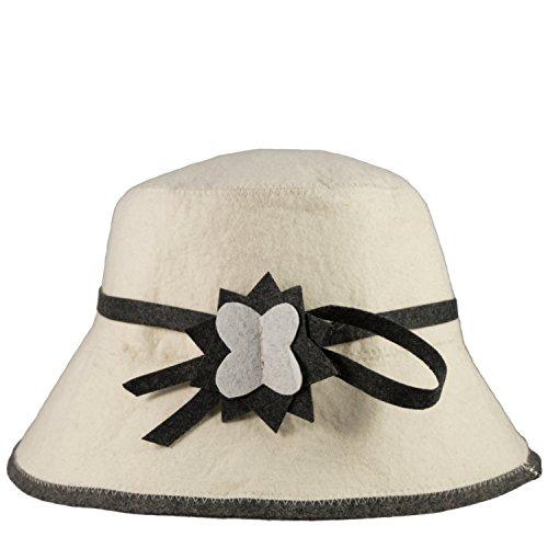 Saunahut - Modell Blume Damenhut - 100% Baumwolle - Saunamütze aus Filz für Damen und Herren