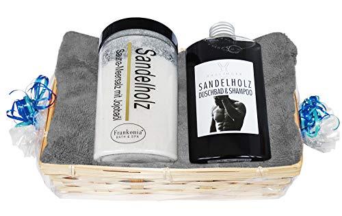 Lashuma Sauna Geschenkset - Herren Sandelholz - 4 tlg. Duschbad & Shampoo, Saunasalz, Handtuch 50x100 Grau im Geschenkkorb