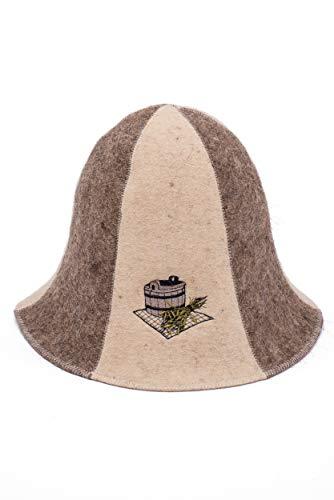 Ger3as Saunahut 100% Wollfilz Natürlich mit Stickerei für Damen und Herren, Wellness Wolle Filz Mütze Premium Qualität (Bad Saunakübel)