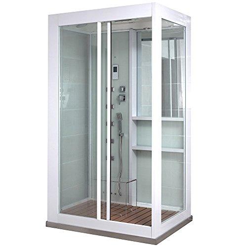 Home Deluxe - Duschkabine - White Luxory XL - Maße: 120 x 90 x 220 cm - inkl. Dampfsauna und komplettem Zubehör und Sitzgelegenheit aus Acrylglas