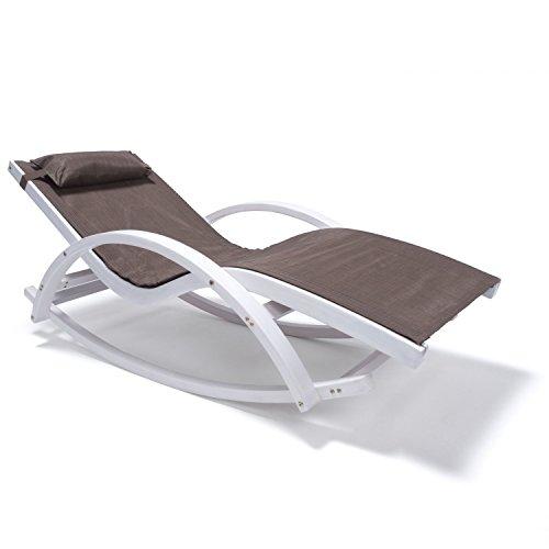 Ampel 24 Relax Schaukelstuhl Rio, Relaxliege mit Armlehnen, Gartenmöbel aus Holz weiß gestrichen, Stuhl Bespannung braun, wetterfeste Gartenliege