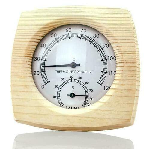 Keelia-Keely Holz Sauna Thermometer Thermo Hygrometer Saunazubehör 120℃ für Saunahaus