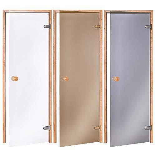 AD Standart Saunatüren, Abmessungen der Öffnung: 60 x 190/70 x 190/70 x 200; Glasfarbe: Transparent oder Bronze; Rahmenmaterial: Espe oder Erle