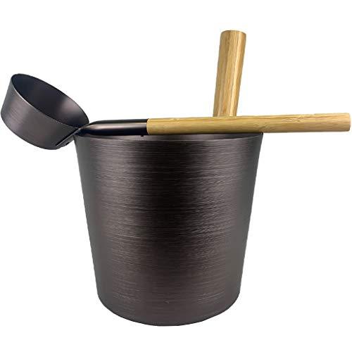 SudoreWell® Saunakübel Set teerbraun mit Saunakübel 5,0 l...