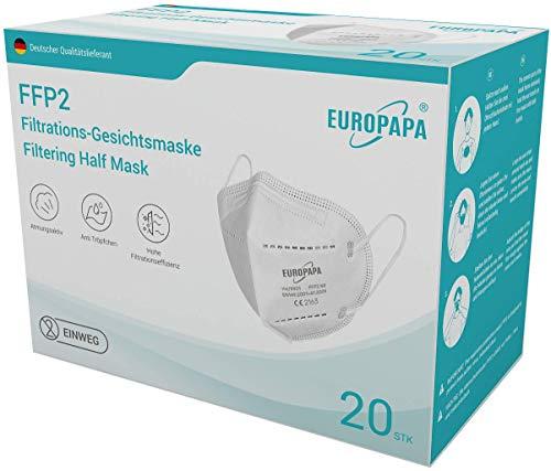 EUROPAPA 20x FFP2 Atemschutzmaske 5-Lagen Staubschutzmasken...