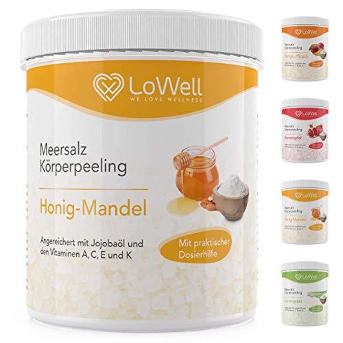 LoWell - Peeling Meersalz mit Jojobaöl + BONUS Dosierhilfe + Peeling-Guide – Natürliches Körperpeeling...