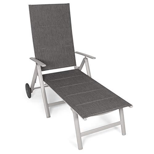 Vanage Sonnenliege in schwarz - Gartenliege mit 2 Rädern - Liegestuhl ist klappbar - Gartenmöbel - Strandliege aus Aluminium - Relaxliege für den Garten, Terrasse und...
