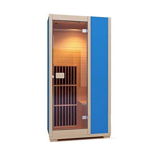Zen 'Brighton' Mini-Sauna, 1 Platz, Infrarot, kompakt und modular, aus Holz, aus kanadischem Hemlockholz, verfügbar in 7Farben blau