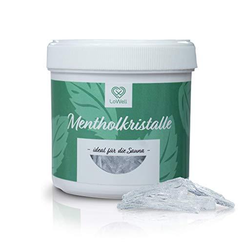 LoWell® 100g Mentholkristalle aus 100% reiner Minze - Ideal als Sauna Aufgussmittel für die Sauna in wiederverschließbarer Dose - Menthol