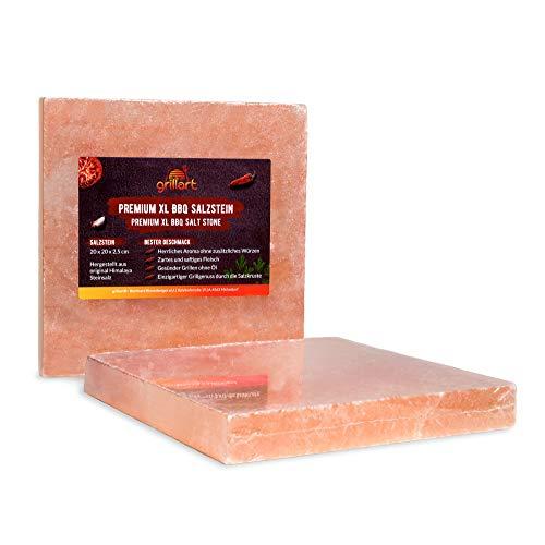 grillart® Premium XL Salzstein zum Grillen (2er Pack Quadratisch) – Hochwertiger BBQ Salz Grillstein für einen besonderen Geschmack – Original Salzplatte zum Grillen