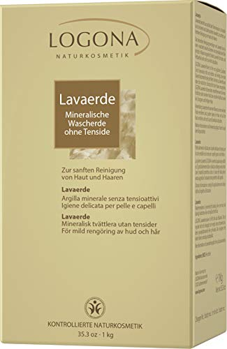 LOGONA Naturkosmetik Lavaerde Pulver, Ghassoul, Tonerde für Haar- & Körperpflege, Natürlich & Vegan, auch für Masken & Peelings, Ohne Tenside, 1kg