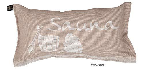 JOKIPIIN | 1 Saunakissen und Reisekissen SAUNA, 40 x 22 cm, Leinen/Baumwolle, made in Finland (beige/weiß)