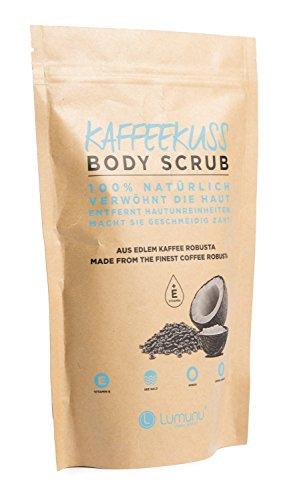 Deluxe Körper-Peeling KAFFEEKUSS (250g), 100% natürliches Kaffee Body-Scrub mit reichhaltigem Kokosöl & Avocadoöl, vegan & tierversuchsfrei, von Venize