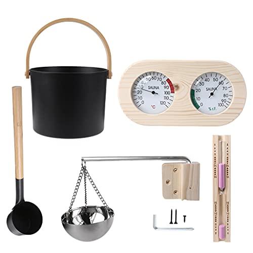 BAIRU Komplettset Sauna Zubehör Kit Thermo-Hygrometer ätherisches Öl Schüssel Saunakübel für Zuhause