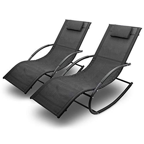 BITUXX Sonnenliege Gartenliege Relaxliege Schaukelliege Liegestuhl Schaukelstuhl (2 Liegen)