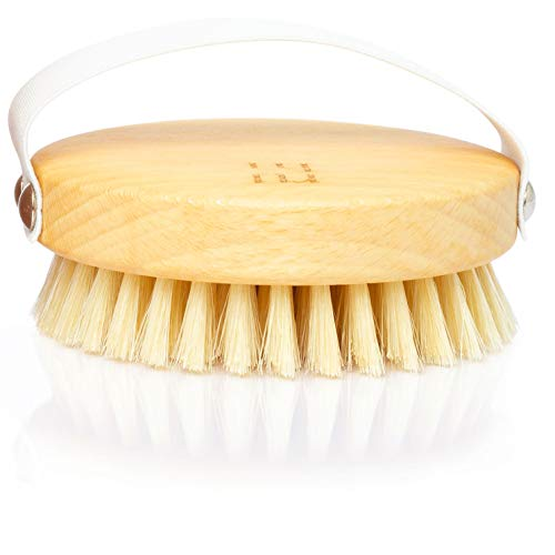 ruhi® Körperbürste rund 100% Naturborsten gefertigt in DE plastikfrei zur Trockenbürsten Massage (dry brush), Lymphdrainage gegen Cellulite | regionales,...