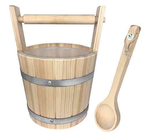 SudoreWell® Saunakübel Saunaeimer mit Tragegriff aus Fichtenholz 5 l plus Kelle