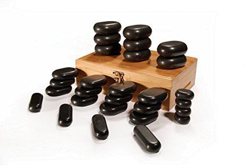 Master Massage Hot Stone Heiße Massagesteine in dekorativer Bambumskiste 28 St