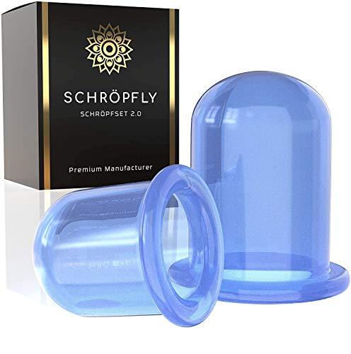 SCHRÖPFLY© Premium Schröpfgläser Silikon [2er Set] - Verbessertes Konzept 2021 - Saugglocke Schropfenset für Massage - Schröpfen Gesicht Cupping Schröpf Cup Saugnapf...