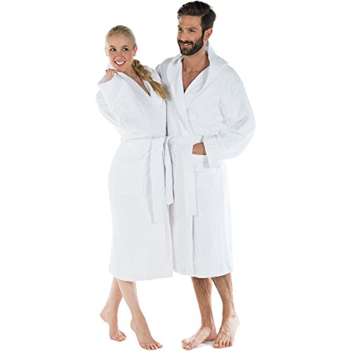 CelinaTex Montana Bademantel mit Kapuze XL weiß Baumwolle Morgenmantel Frottee Damen Herren Saunamantel