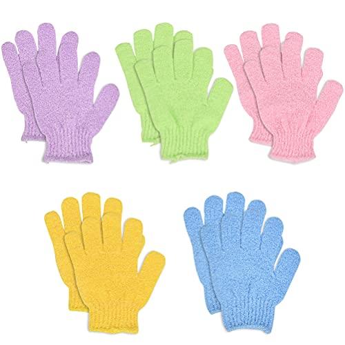 N\A 5 Stück Peeling Handschuhe Waschhandschuh für Peeling Körper Handschuhe für Herren und Damen für Dusche Körper Spa Massage Entferner Abgestorbener Hautzellen